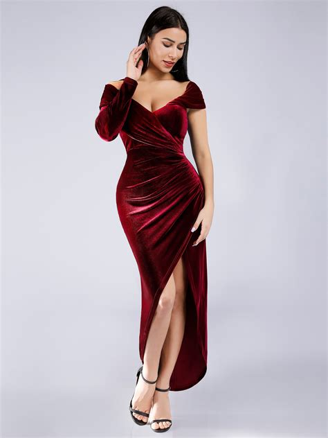 Ever-pretty Long Sexy Burgundy Cocktail Prom Gowns ...