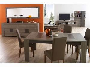 Table rectangulaire 180 cm atlanta coloris chene fusain for Meuble de salle a manger avec salle 0 manger conforama