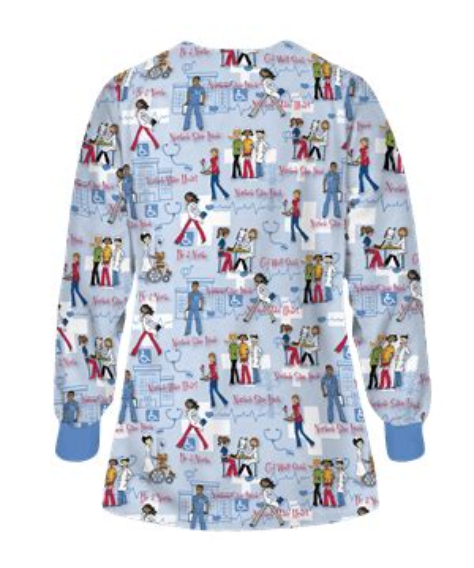 ua be a nurse ceil print scrub jacket print nursing jackets