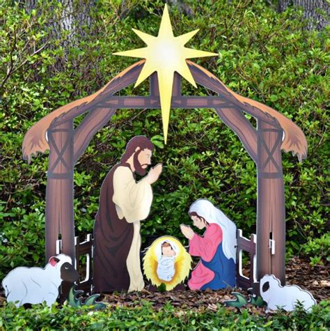 celebrate with outdoor lighted nativity sets and