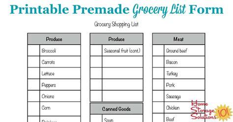 Free Printable Grocery List Form