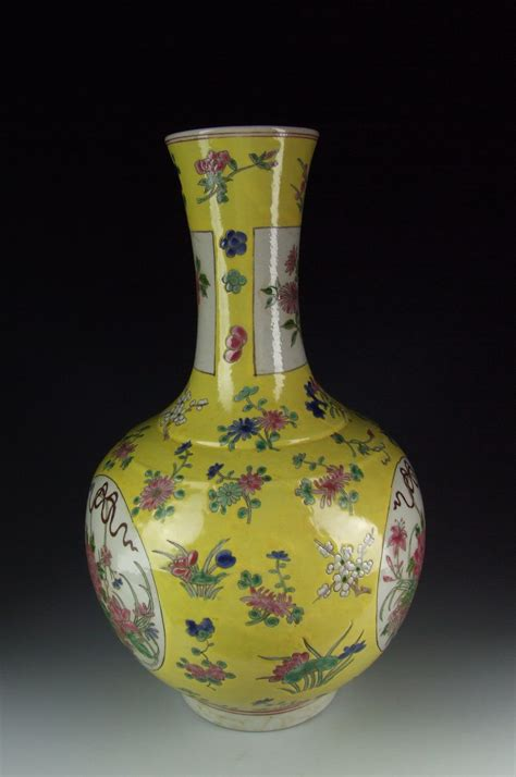 Porcelain Vase by Antique Yellow Glazed Porcelain Vase With Flower