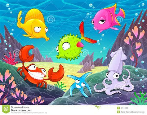funny happy animals   sea stock vector image