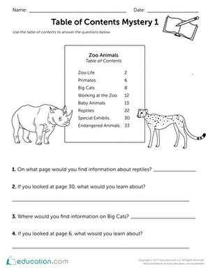 table of contents mystery 1 worksheet education com