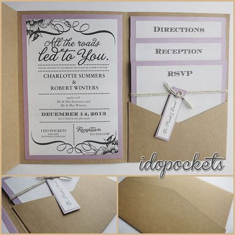 kraft wedding pocket invitations diy pocketfold envelopes