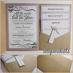 Kraft wedding pocket invitations diy pocketfold envelopes for Wedding invitation pockets ebay