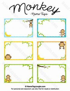 free printable monkey name tags the template can also be With free customized name tags printable