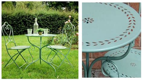 pale green metal garden table and chairs bistro set