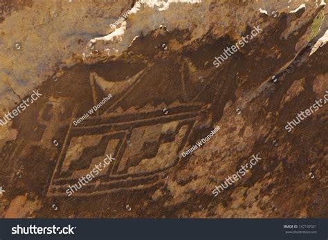 Petroglyphs Carved Rocks By Navajo Hopi Stock Photo