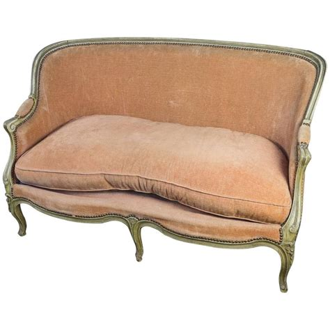 Settees And Sofas Sale by Small Louis Xv Style Settee In Pale Apricot Velvet