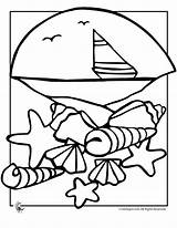 Coloring Pages Beach Seashell Seashells Shells Sea Sheets Colouring Animals Sand Letters Adult Adults Ocean Library Clipart Camping Azcoloring Coloringtop sketch template
