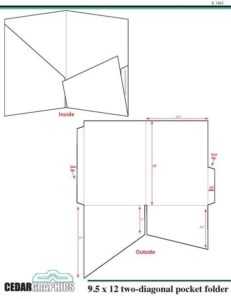 "Pocket Folder  95"" X 12"" Twodiagonal Pocket Template"