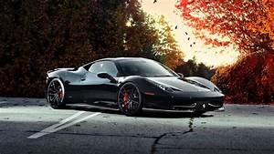 배경 화면 가을에 페라리 458 이탈리아 검은 차 1920x1200 HD 그림, 이미지
