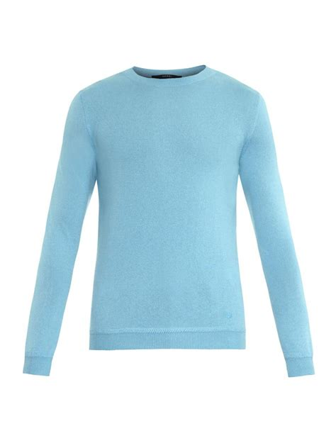 light blue cashmere sweater lyst gucci crew neck cashmere sweater in blue for men