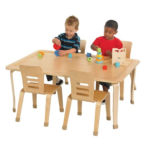 ecr4kids rectangular bentwood play table daycare tables