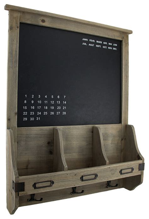 Rustic Wooden Chalkboard Mail Center Organizer Key Rack