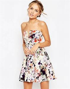 Asos asos wedding notch bandeau navy floral mini dress for Robe fleurie asos