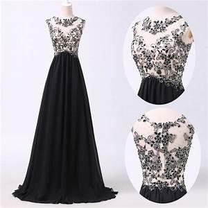 A Line Prom Dresses,Black Lace Prom Dress,Simple Prom ...