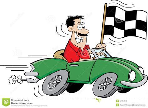 Cartoon Man Holding A Checkered Flag. Stock Vector