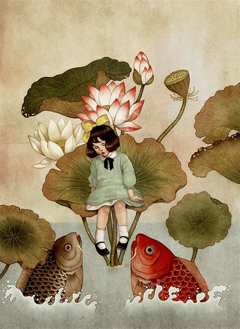 thumbelina illustrations drawn   style  south korean folk paintings designtaxicom