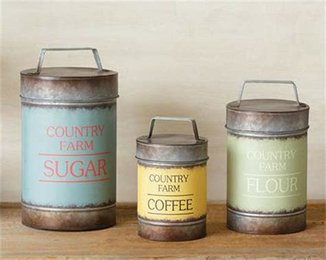 kitchen flour canisters 3pc canister set sugar flour coffee country farm metal