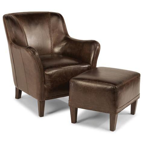 Flexsteel Leather Chair And Ottoman by Flexsteel Latitudes Wheatley Contemporary Leather Chair