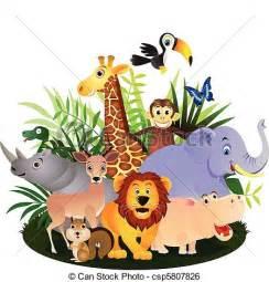 Cartoon Safari Animals Clip Art