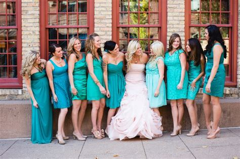 Mermaid And Jade Bridesmaid Dresses. Blush Bridal Dress