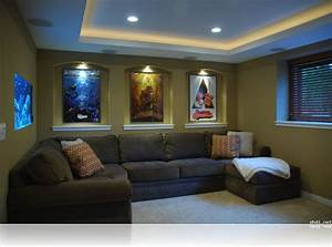 Decorations : Small Home Basement Media Room Ideas Brown
