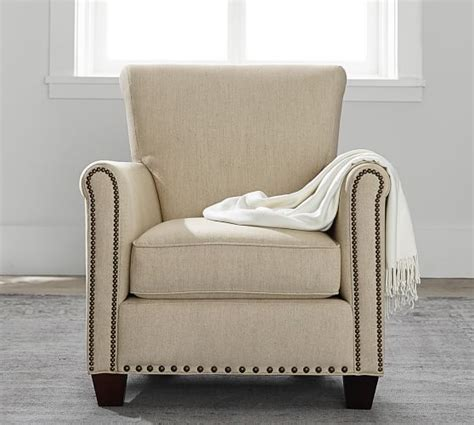 irving upholstered armchair with nailheads pottery barn