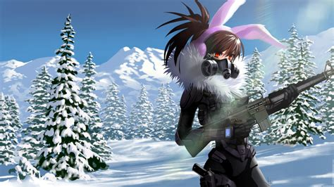 Snow Anime Wallpaper - wallpaper anime gun armored gas mask bunny ears
