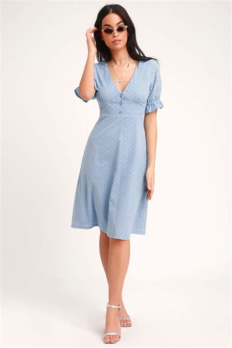 cute light blue dress eyelet lace dress midi dress dress