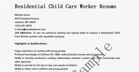 Child Care Worker Resume by Resume Sles Residential Child Care Worker Resume Sle
