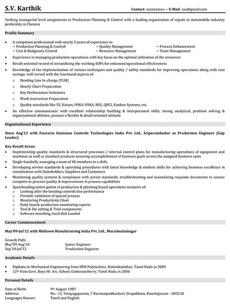 28 resume sle for mechanical engineer automotive resume sles for production engineer 28 images resume