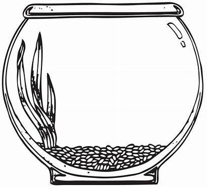 Bowl Coloring Fish Empty Pages Clipart Clip