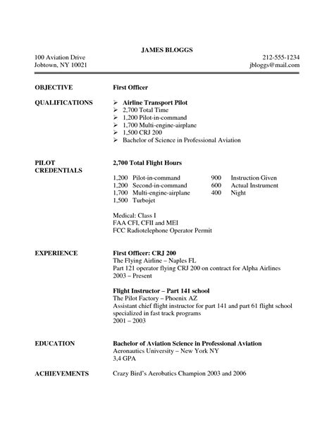 Pilot Resumes And Cover Letters by Professional Pilot Resume Professional Pilot Resume