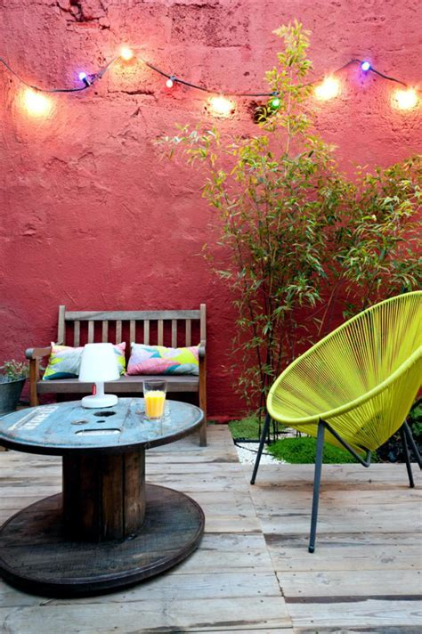 Wooden cable reel as a patio table   Interior Design Ideas