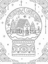 Coloring Christmas Adult Ball Crystal Vector Card Holiday Line Snow Outdoor Greeting Decorations Nature Trees sketch template