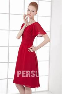 Robe Rouge Mariage Invité : robe cocktail de mariage rouge avec manches courtes ~ Farleysfitness.com Idées de Décoration