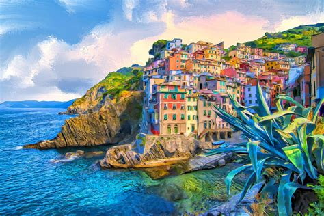 Riomaggiore Morning Cinque Terre Painting By Dominic