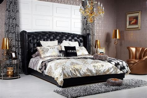 majestic transitional black eco leather bed