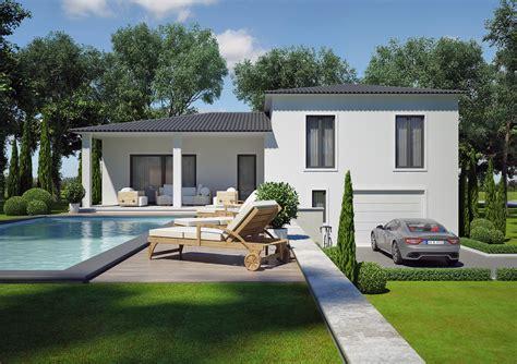 plan maison plain pied 120m2 4 chambres modèle villa contemporaine 100m2 demi étage agate azur