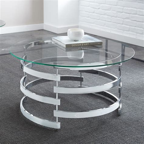 At your doorstep faster than ever. Steve Silver Tayside Round Glass Top Coffee Table in Chrome - Walmart.com - Walmart.com
