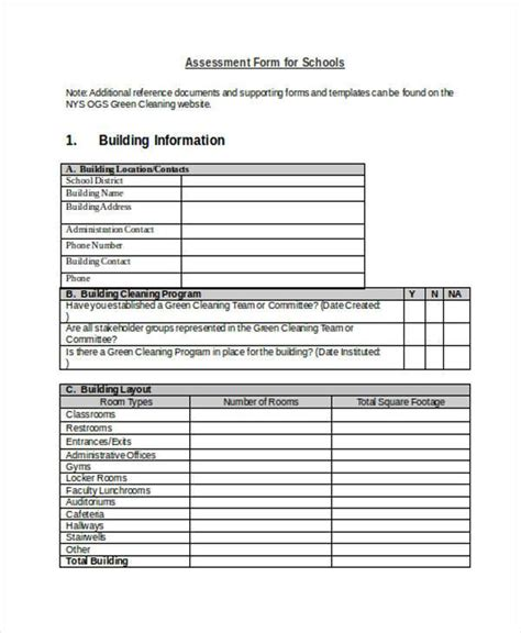 sample blank assessment forms   ms word