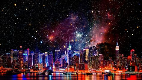 outer space galaxies  york city cities wallpapers