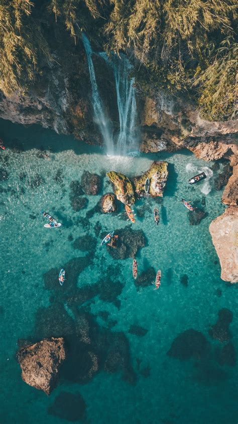 drone view aerial view water  boat hd photo