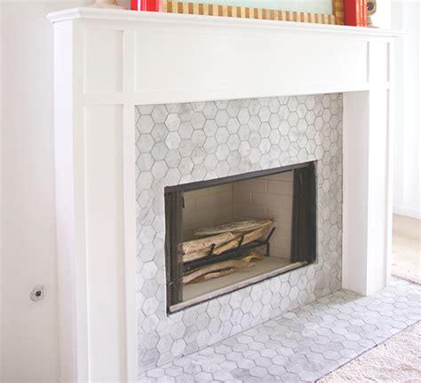 mosaic tile fireplace carrara bianco 3 hexagon honed fireplace the builder