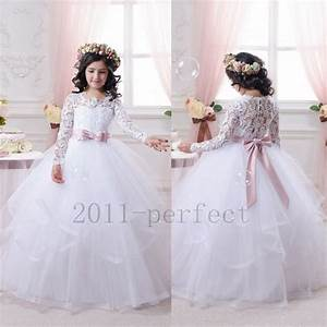 Wedding Flower Girl Dresses Tiered Long Sleeves Lace Tutu ...