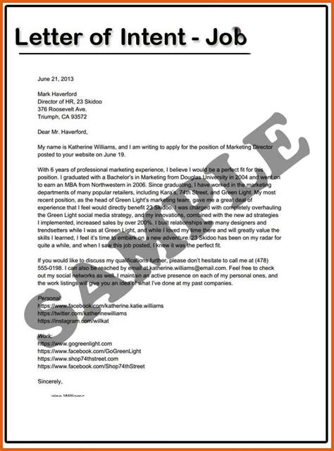 letter of intent for a job apa exles
