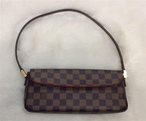 louis vuitton authentic small leather checkered signature logo print damier ebene recoleta